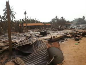 Destruction at Kwakwa Village