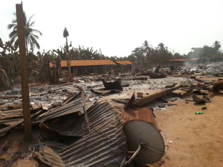 Destruction at Kwakwa Village